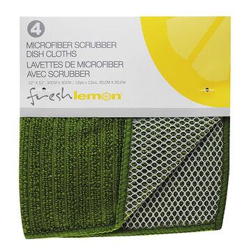 Fresh Lemon Microfibre Scrubber Dish Cloth - Green - 4 pack