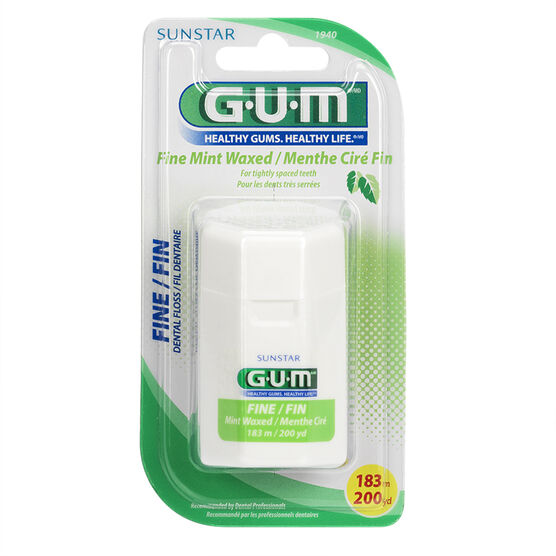 G.U.M. Fine Dental Floss - Mint Waxed - 183m