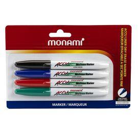 MonAmi Dry Erase Fine Markers - 4 Pack