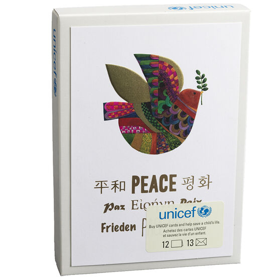 Unicef Christmas Cards - Colourful Dove - 12 pack