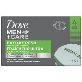 Dove Men+Care Invigorating Formula Body + Face Bars - Extra Fresh - 4 x 90g