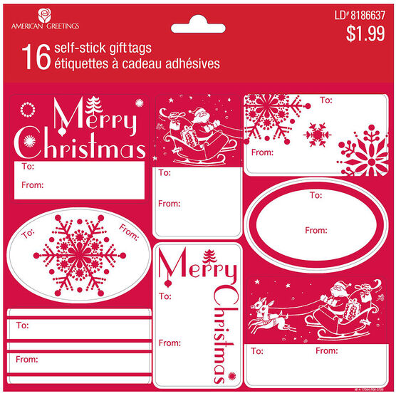 Plus Mark Red Gift Tags - 16s
