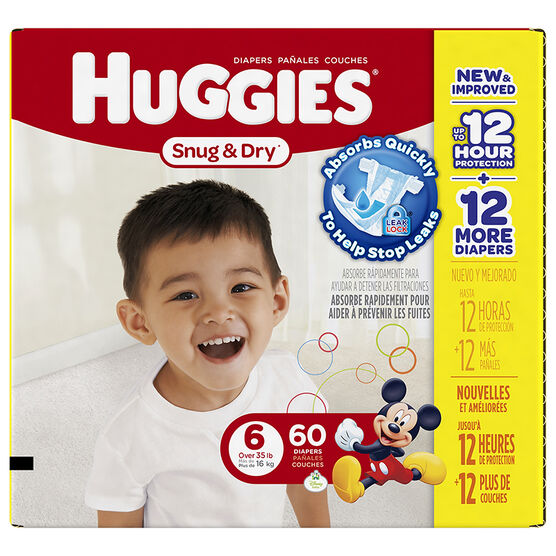 Huggies Snug & Dry Diapers - Size 6 - 60's