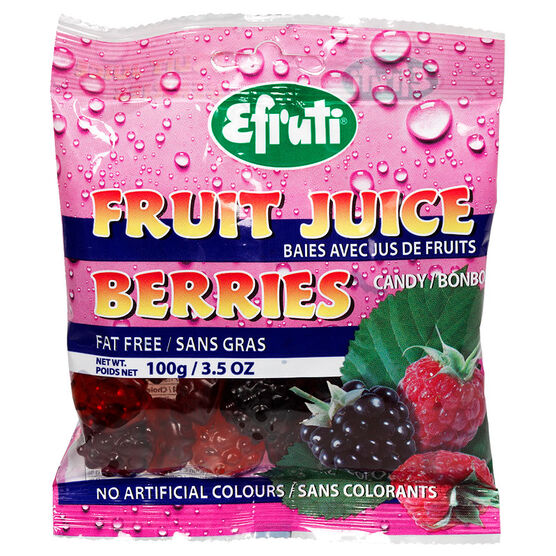 Efruti Gummi-Sweets - Fruit Juice Sour Rasp- and Black-Berries - 100G