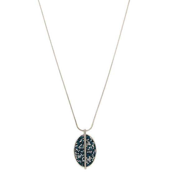 Kenneth Cole Oval Pendant Necklace - Teal/Silver