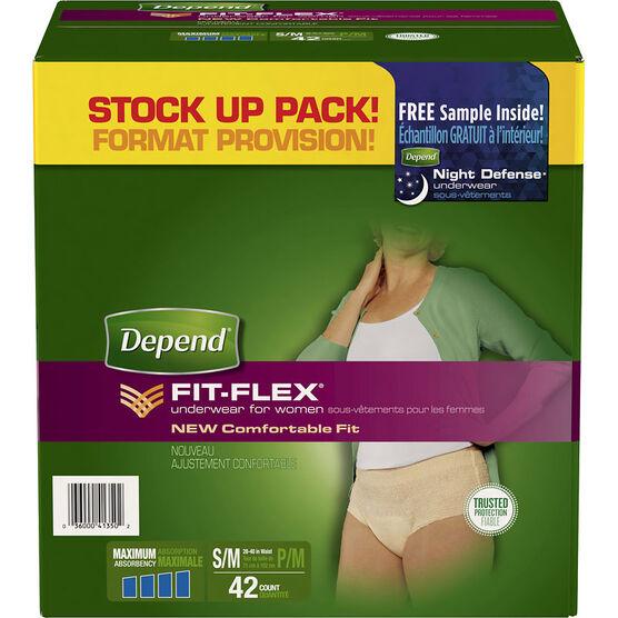 Depend Fit-Flex Underwear for Women Maximum Absorbency - Small/Medium - 42's