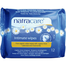 Natracare Natural Organic Cotton Intimate Wipes - 12's