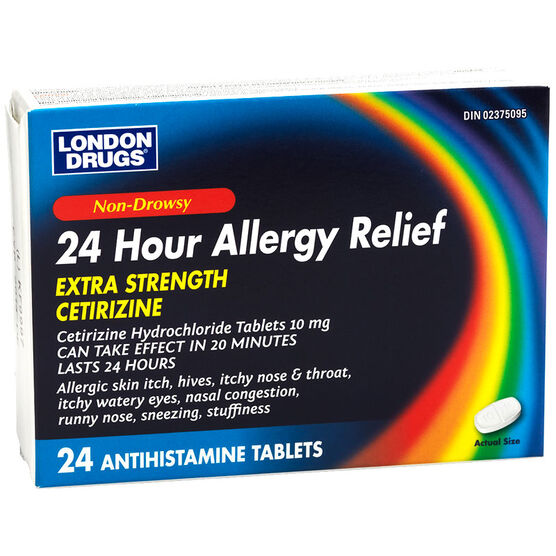 London Drugs Extra Strength Cetirizine Hydrochloride 10mg Non-Drowsy 24 Hour Allergy Relief Tablets - 24's