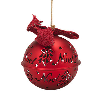 Winter Wishes Candy Cane Lane Bell Ornament - 4.5 inch - Red