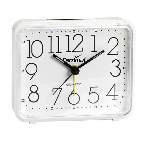 Cardinal White Square Quartz Alarm