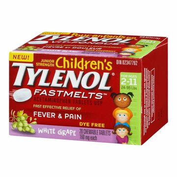 Tylenol* Children's Junior Strength Fastmelts - White Grape - Dye Free - 20's