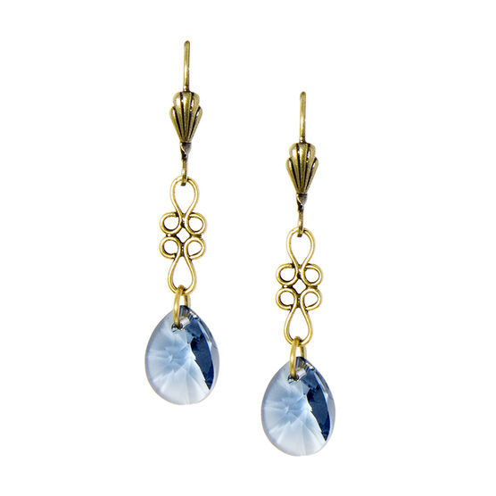 Anne Koplik Faceted Denim Blue Teardrop Earrings