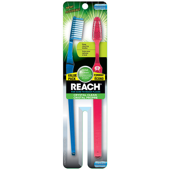 Reach Crystal Clean Toothbrush - Medium - 2's