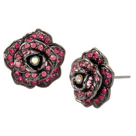Betsey Johnson Rose Button Earring - Pink/Hematite