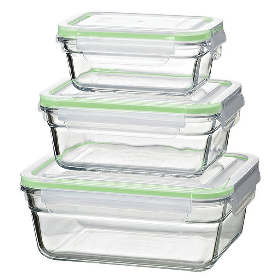 Glasslock Airtight Set - Green - 6 piece