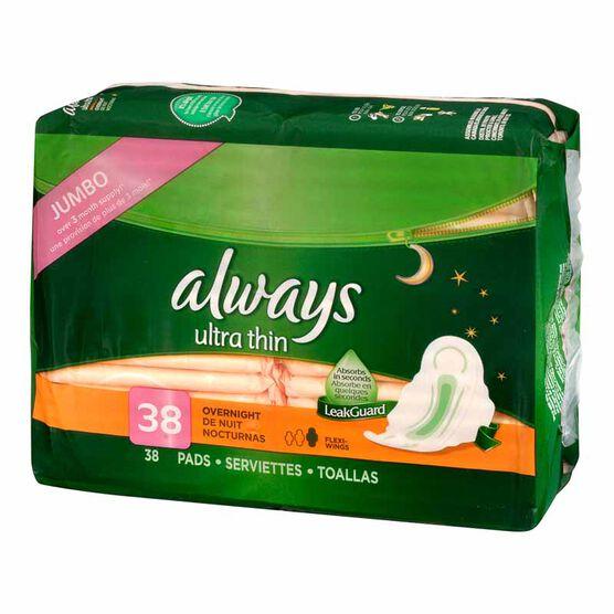Always Ultra Thin - Overnight - 38's