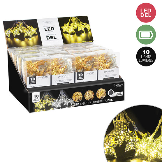 Danson Battery Operated LED Star Light Set - 10 lights - X99208 - Assorted