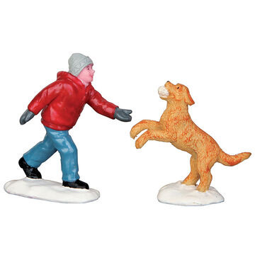Lemax Dog In Snow - Set of 2 Figurines