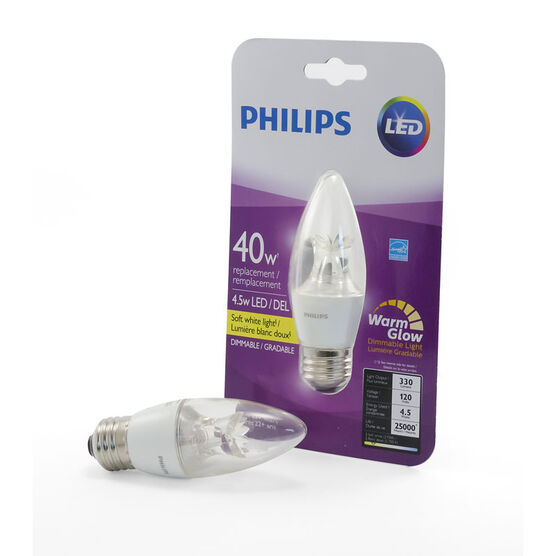 Philips Chandelier B13 LED Medium Base Light Bulb - Clear Warm - 4.5w/40w