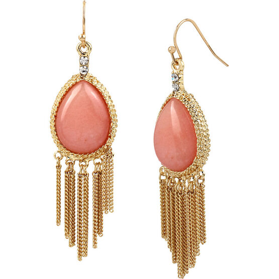 Haskell Chain Drop Earrings - Peach/Gold