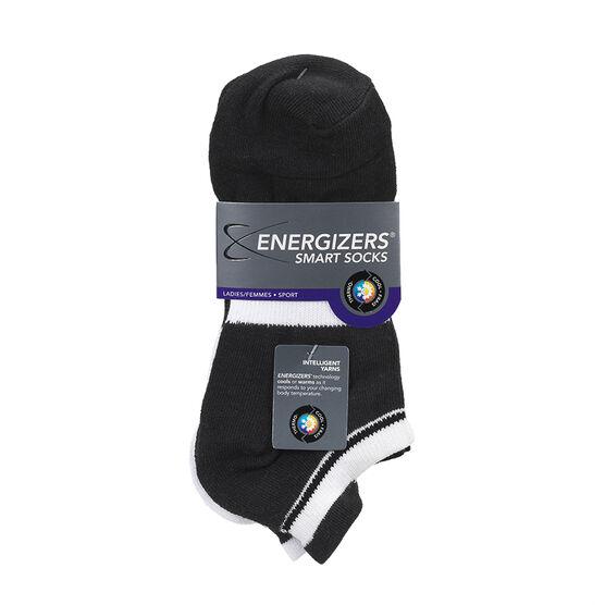 Energizers Ladies Low Cut Sport Socks - Black/White - Sizes 9-11