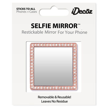iDecoz Cubic Zirconia Square Selfie Mirror - Rose Gold