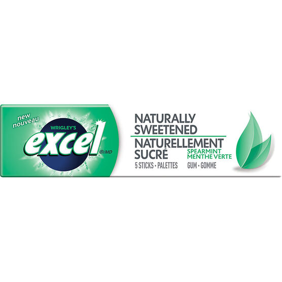 Excel Naturally Sweetened Gum - Spearmint - 5 piece