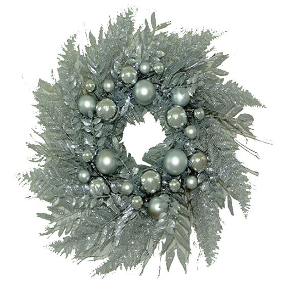 """Winter Wishes Silver Wreath - 24"""""""