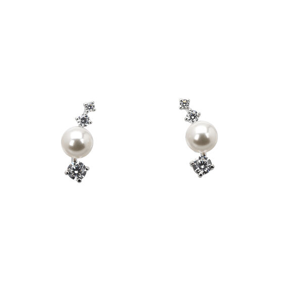 Eliot Danori Moonrise Pearl Earrings - Rhodium