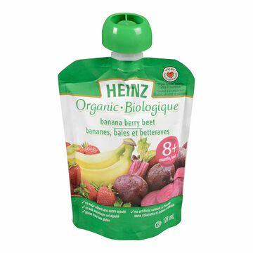Heinz Organic Baby Food Pouch - Banana/Berry/Beet - 128ml
