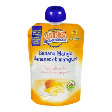 Earth's Best Infant Puree Pouch - Banana and Mango Smoothie - 128 ml