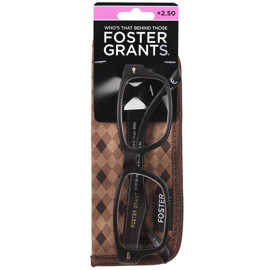 Foster Grant Hugo Brown Reading Glasses with Case - 2.50