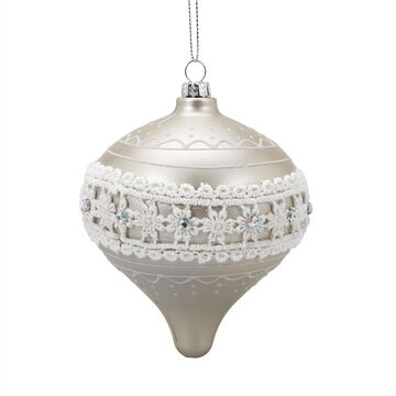 Winter Wishes Candy Cane Lane Onion Ornament - 4 inch - White