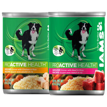 IAMS Ground Savory Dinner with Meaty Beef and Rice - 374g