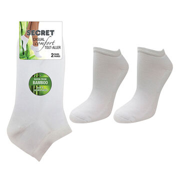 Secret Nature Bamboo Low Cut Socks - White - 2 pair