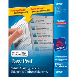 "Avery® Easy Peel™ White Address Labels for Inkjet Printers - 1"" x 2-5/8"" - Pack of 300"