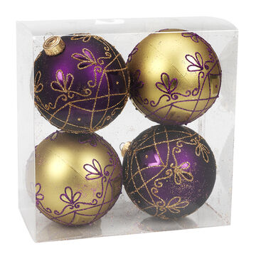 Winter Wishes Elegance Ball Ornaments - 4 pack - Gold/Purple