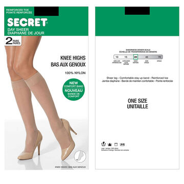 Secret Knee Highs with Reinforced Toe - One Size - 2 pair