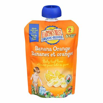 Earth's Best Infant Puree Pouch - Banana and Orange - 128 ml