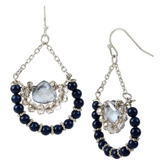Haskell Beaded Earrings - Blue/Rhodium