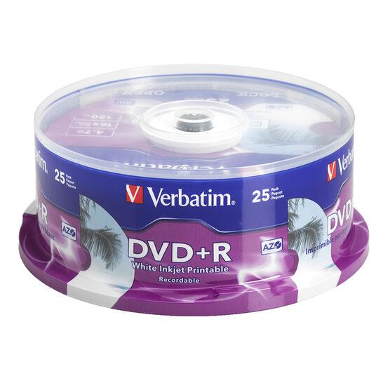 Verbatim DVD+R 4.7GB up to 16X White Inkjet Printable Hub Printable Recordable Disc - 25 pack