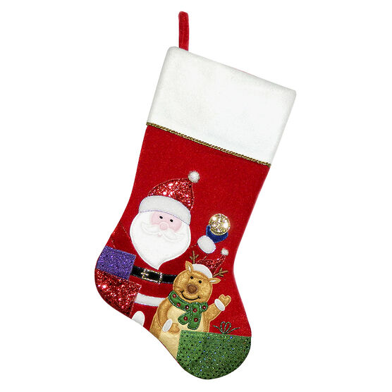 Christmas Forever Santa and Reindeer Stocking - 20.5in - Red - XM-US2723