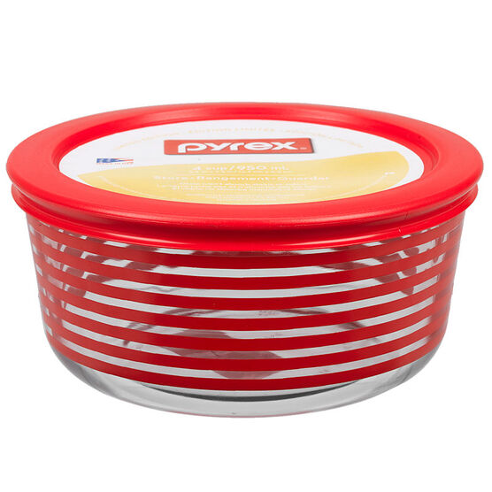 Pyrex Storage Container - Red Stripes - 4 Cups