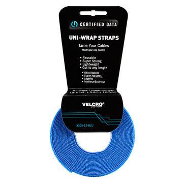 Certified Data 1/2-inch Velcro Wrap - 12 feet - Blue