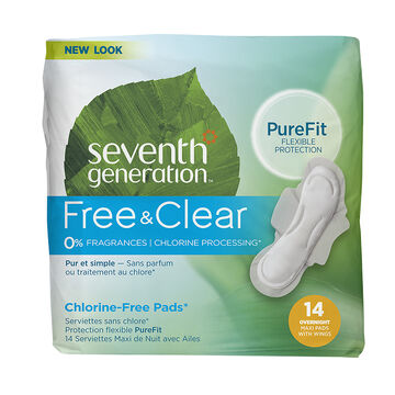 Seventh Generation Free & Clear Maxi Pads - Overnight - 14's
