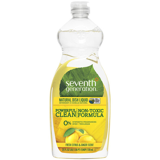 Seventh Generation Dish Liquid - Fresh Citrus & Ginger Scent - 739ml