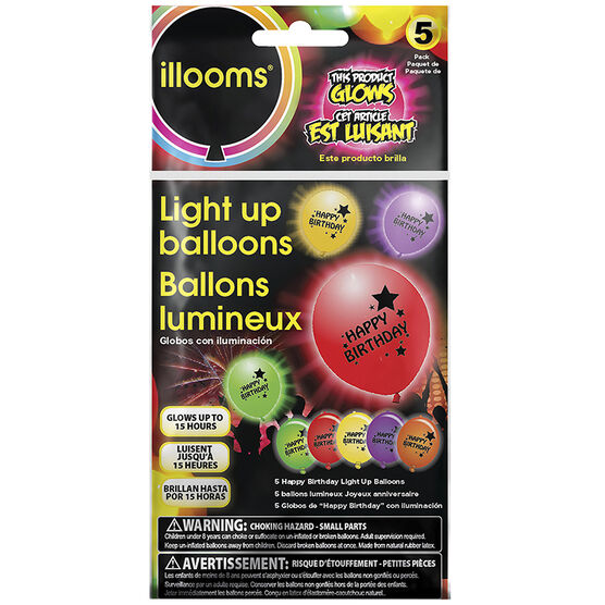 illooms Light Up Balloons - Assorted - 5 pack