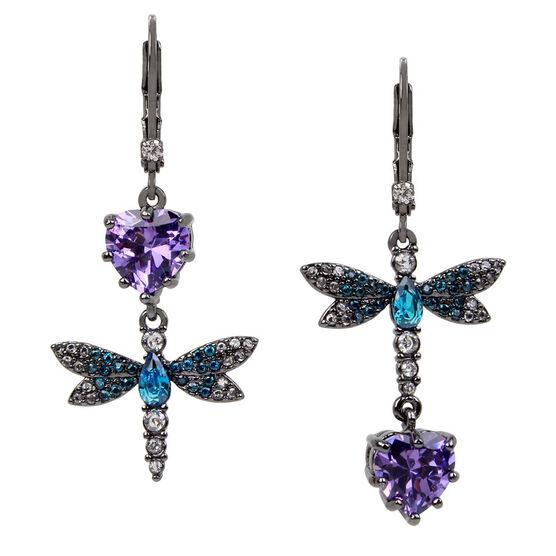 Betsey Johnson Dragonfly Mis Match Earrings - Multi