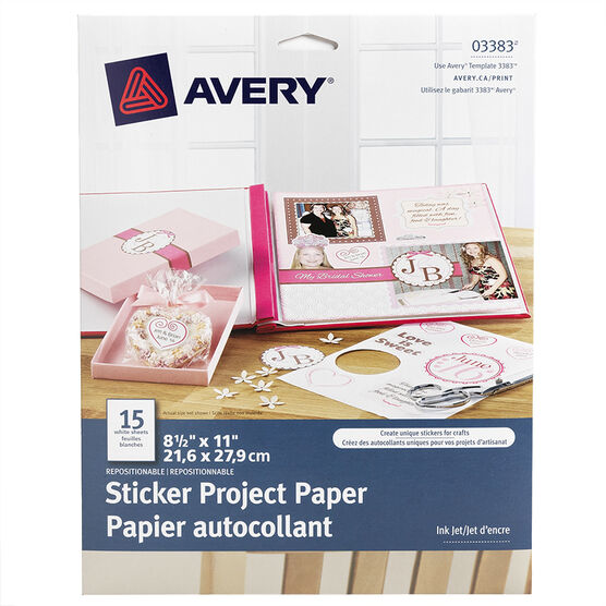 Avery Sticker Project Paper - White - 15 sheets