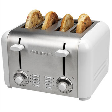 Cuisinart 4 Slice Compact Stainless Toaster - Stainless Steel / White - CPT-340WC